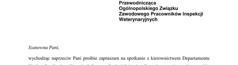 Odpowiedź Szefa Służby Cywilnej, w sprawie spotkania z Zarządem OZZPIW