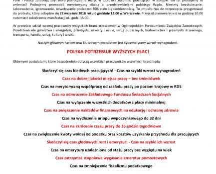22 września manifestacja w Warszawie! Dołączcie do nas!