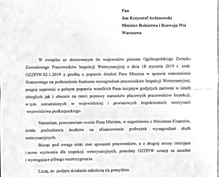 Poparcie postulatów OZZPIW przez Wojewodę Podkarpackiego