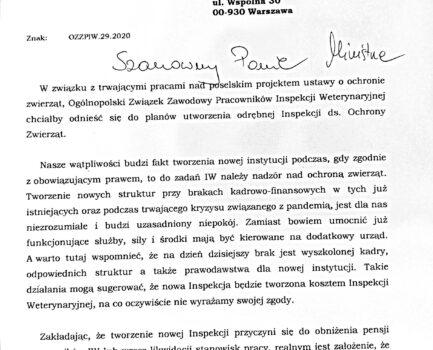 Pisma OZZPIW do nowego Ministra Rolnictwa i Rozwoju Wsi