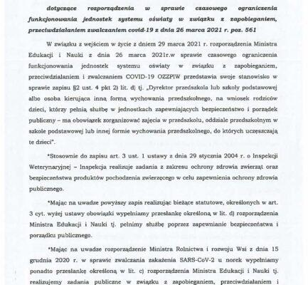 Stanowisko OZZPIW dotyczące rozporządzenia w sprawie czasowego ograniczenia funkcjonowania jednostek systemu oświaty