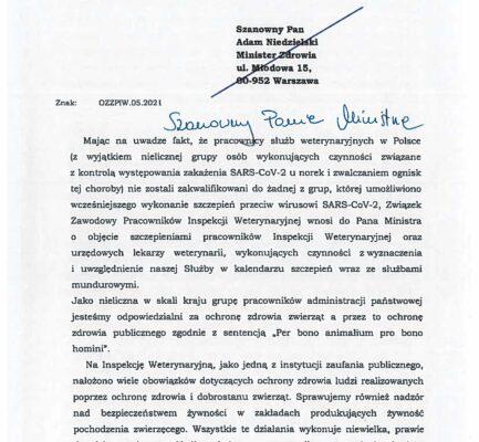 Zarząd OZZPIW wystąpił do Ministra Zdrowia o uwzględnienie naszej grupy zawodowej w kalendarzu szczepień