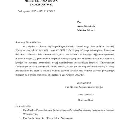 Poparcie Ministra Rolnictwa i Rozwoju Wsi dla postulatu OZZPIW w sprawie szczepień